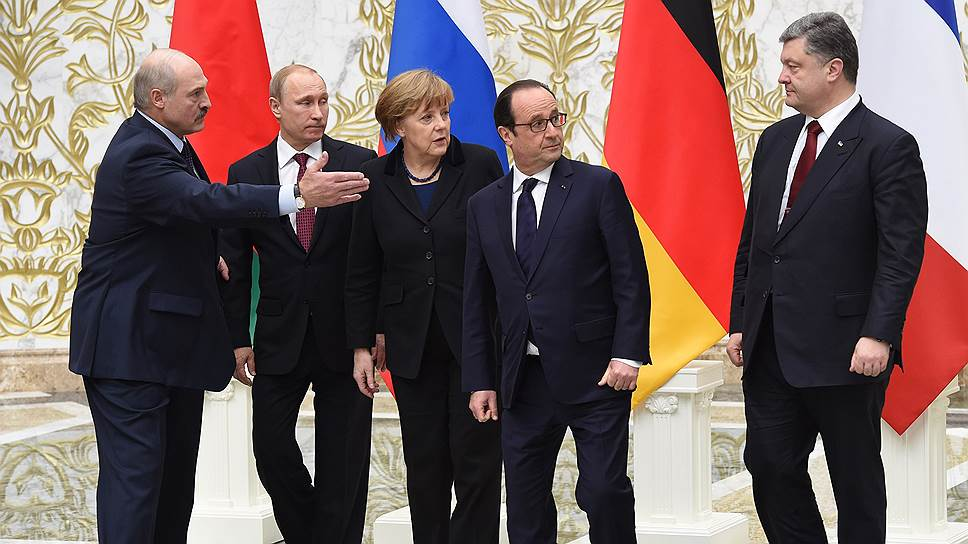 Встреча в Минске с участием канцлера Германии Ангелы Меркель, президента Франции Франсуа Олланда, российского президента Владимира Путина, президента Украины Петра Порошенко.